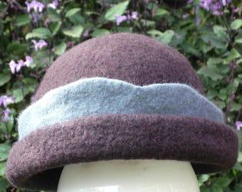 Felted Merino Wool Hat in dark brown with mountain blue trim