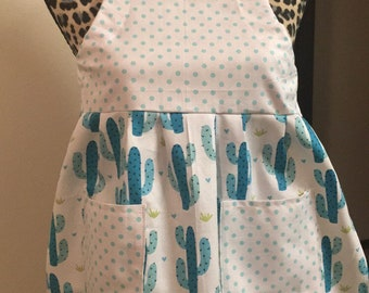 Kids cactus and polka dot apron