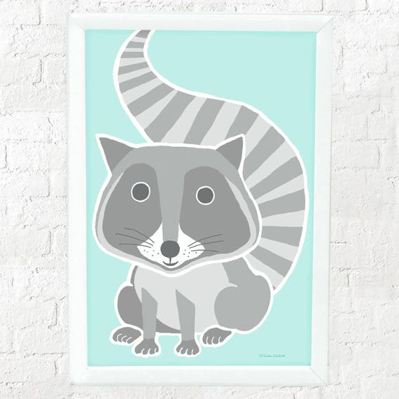 Raccoon print for nursery or kid's bedroom wall, kid's raccoon print, kids decor, nursery wall print, baby gift, children's decor, set of 4