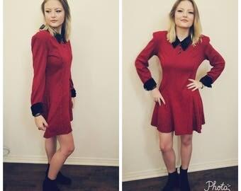 90s Red Black Mini Dress. Houndstooth. Grunge dress. Long Sleeves. Velvet trim. Size medium.