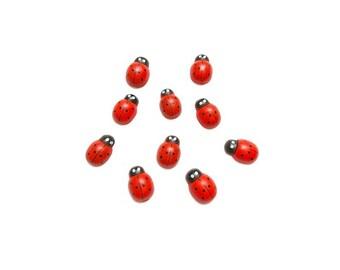 20 wooden Animal Red Ladybug embellishment cabochons