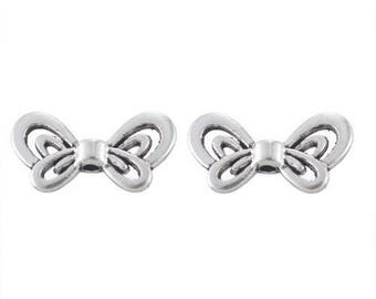 10 Butterfly silver 15.5 x 9 mm beads