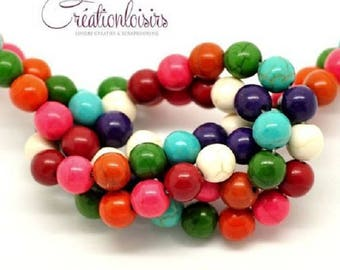 Multicolor howlite stone 8 mm 10 beads