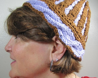 Knitted Hat - Cabled Cotton