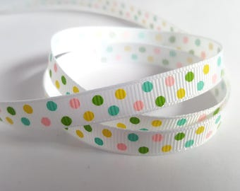 Pastel polka dot ribbon, Polka dot ribbon, Dots ribbon, Printed ribbon, Grosgrain, Printed grosgrain, Dotty, Dots, Spotty, Polka dot, Dotted