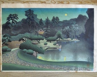"Bakufu Ohno (1888-1976) Japanese Woodblock Print ""Katsura Garden In Kyoto (Summer)"" 1950's"