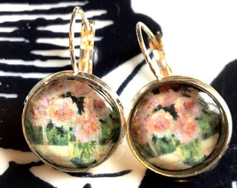 Handmade Monet's roses cabochon earrings- 16mm