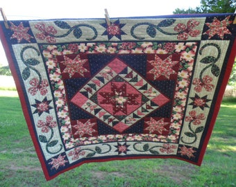 Hand Quilted Floral Cotton Fabric Lap Quilt or Wall Hanging