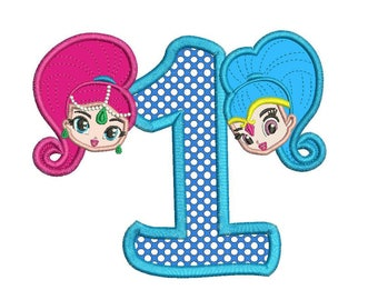 Shimmer and Shine 1st Birthday Applique 2 sizes instant download