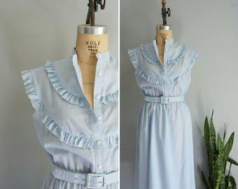 1970s Marianne ruffle cotton dress   vintage 70s dress   vintage cotton dress