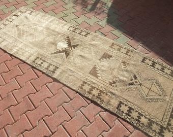 Pastel Turkish Runner Rug,Oushak Runner Rug,Turkish Vintage Rug,Floor Rugs,Halway Runner Rug,Vintage Runner Rug,2'11''x8'10''Feet