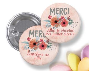 10 Badges Merci, remerciements pour mariage, pacs, baptême, communion- 38 mm - personnalisable
