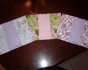 Set of 3 Baby Girl Fairies Burp Cloths with Disney's Tinker bell and Fairies with Forest Friends