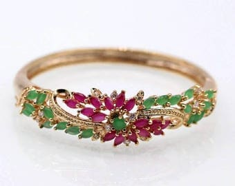 Luxurious Party Jewelry Gold Color Green & Red Cubic Zircon Pave Bangle Bracelet