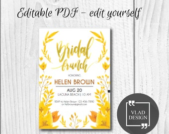 Editable Bridal Brunch Invitation, Editable PDF, Bridal brunch invite, Printable invitation, Bridal brunch template, Edit yourself