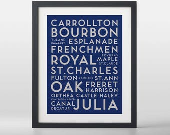 New Orleans USA City Streets Typography Art Print