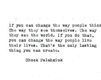 Chuck Palahniuk hand typed vintage typewriter quote