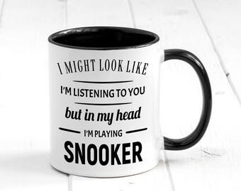 In My Head I'm Playing Snooker, Funny Coffee Mug, Gift For Snooker Players, Snooker Mug, Snooker Player Gifts