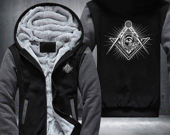 """Freemason Masonic """"G"""" Compass Fleece Jacket Hoodie"""