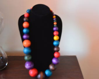African Wooden Beads Necklace | Multicolor Wood necklace | African Jewelry | Tribal Necklace | One size fits all | Gift for Her|