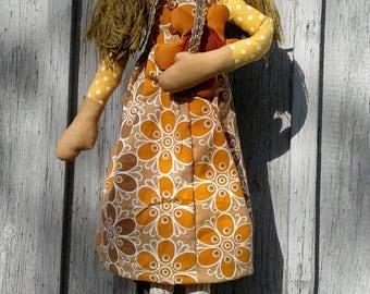 Primitive Rag Doll - Cloth Doll - Primitive Doll - Rag Doll  - Ragged Doll - Handmade Doll - Fabric Doll - Unique Doll - Rustic Decor -