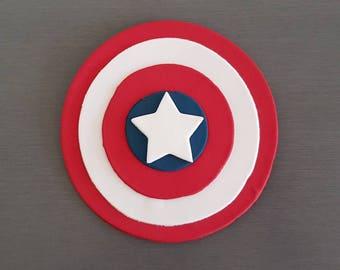 1 x Captain America Cake Topper (cake size), Fondant Captain America Decorations, Superhero party, Edible Captain  topper, Superhero toppers