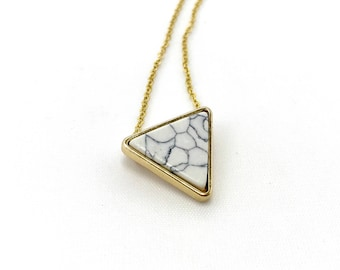 Triangle white marble pendant necklace. unique and gorgeous.