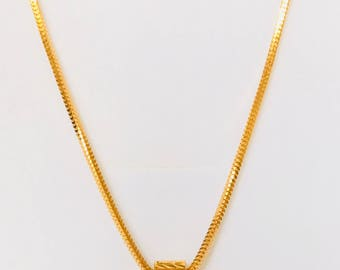 18 inches solid 22k gold 916 gold purity Milano Box and loop abacus pendant chain necklace