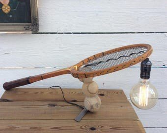 Upcycled deco industrial loft lamp vintage Donnay tennis racket