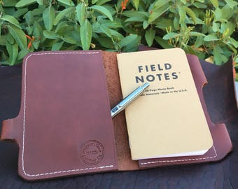 Brown Leather Passport / Field Notes Cover w/ Pen Holder