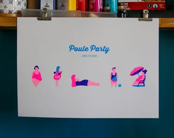 Poster Silkscreen - Poule Party - Poster A3 - Fluo pink and blue