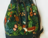 Mimi Crossbody Tote Bag, Canadian, Charcoal with Jungle Print, Bucket Bag, Linen Canvas, Waxed Cotton, Menagerie from Rifle Paper Company
