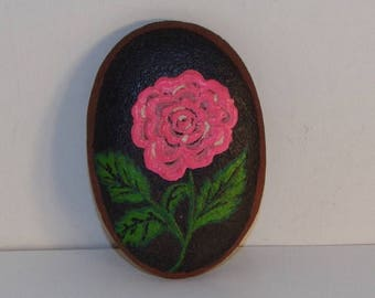 HOT DEAL Hand Painted Pink Rose on a  Rock by I.M. Wall