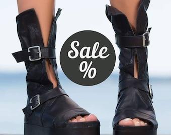 BLACK genuine leather summer  boots/wedge sandals/white leather summer boots/genuine leather sandals/diferend color /platform summer shoes