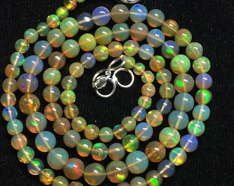 """30% Off AAA Natural Ethiopian Opal Round Balls Beads Gemstone 3.5-5.5mm 17""""Inches Long Multi fire Opal Necklace #BL131"""