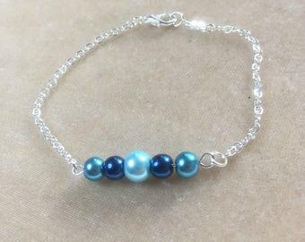 Delicate pearl bracelet, blue pearl bracelet, silver chain bracelet, blue bracelet, pearl bar bracelet, beaded bracelet, bridesmaid gift
