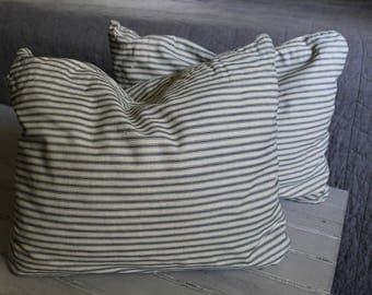 Pair of Vintage Ticking Stripe Down Pillows