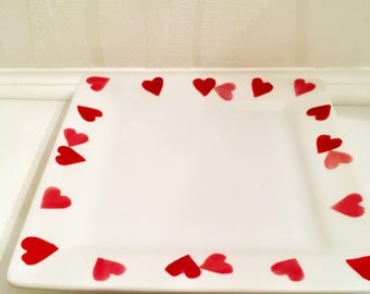 Emma Bridgewater hearts decorative plate, candle plate, trinket dish, valentines gift, Mother's Day, home decor