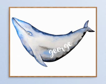 Custom Name - Blue Whale Print - Watercolor Whale Art - Whale Nursery Art - Nursery Name Sign - Ocean Painting - New Baby Gift Idea