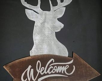 Welcome Sign, Door Hanging Sign, Wooden Welcome Sign, Welcome Porch Sign, Porch Sign, Rustic Welcome Sign, Outdoor Welcome Sign, Deer Sign