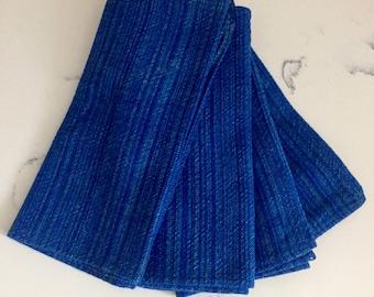 Vintage Blue Linen Napkins, Linen Napkins, Napkin Set