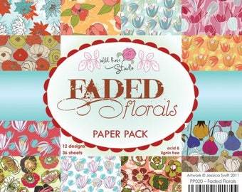 two pockets 15.2 36 papers x 15.2 cm Wild Rose FADED FLORALS