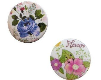 2 round buttons, sewing, scrapbooking FLEURI V 4 cm