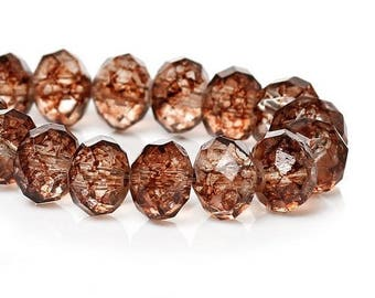 10 glass faceted 8 mm Brown Crackle beads