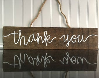 Thank You Hand Lettered Wood Sign with Twine