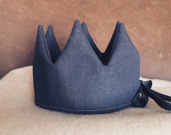 Anthracite linen Crown-kids Crown-it instead-birthday-verjaardagskroon-Crown in linen-Crown toys-children's Party