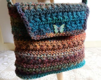 "Crochet  ""Faustine"" Bag with butterfly"