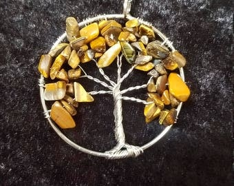 Tiger's Eye stone Tree of Life Pendant Necklace