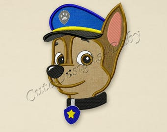 Paw Patrol Chase Head applique embroidery design, Paw Patrol Machine Embroidery Designs, Embroidery designs for baby, Instant download #002
