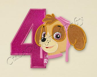 Paw Patrol Skye Number 4 applique embroidery design, Paw Patrol Machine Embroidery Designs, Embroidery designs baby, Instant download #043
